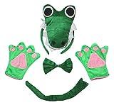 Petitebelle 3D-Krokodil-Stirnband, Schwanz-Handschuhe, Grün, 4-teiliges Kinderkostüm, 1–10 Jahre (5–10 Jahre)