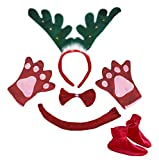 Petitebelle Grüner Ring Reindeer Stirnband Bowtie Schwanz Handschuh Schuhe Kinderkostüm Einheitsgröße rot